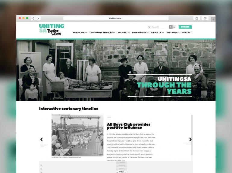 Uniting SA Interactive timeline